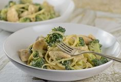 Creamy Chicken Linguine with Broccoli Sauce
