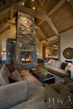 fireplace + wood beams/ceiling