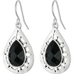The Sak Stone Pierced Drop Earrings (Black/Silver) Earring (1.275 RUB) ❤ liked on Polyvore featuring jewelry, earrings, silver teardrop earrings, drop earrings, silver jewelry, teardrop earrings and stone earrings
