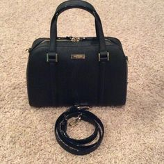 """Kate spade small Felix Black gently used Used two times, has smal eye shadows stain inside pocket as pictured, other than that 9 out 10! Kate spade small Felix Black Item specifics Bag Height: 8.5"""" Style: Satchel Bag Depth: 5"""" Material: Leather Bag Length: 11.5"""" Color: Black kate spade Bags"""