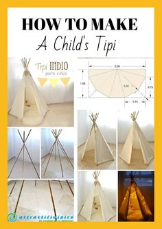 Do you want to delight your child with a homemade teepee? Making one doesn't have to cost an arm and a leg. Find out how to make a perfect hideaway! Child Teepee, Diy Kids Teepee, Diy Teepee Tent, Kids Tents, How To Make Teepee, Projects For Kids, Diy For Kids, Teepee Tutorial, Pallet Kids