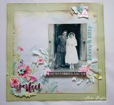 We've all seen vintage photos in black & white and sepia, scrapbooked with similar colours to give it that 'heritage' look. Look at this lovely alternative. Helen Griffin.