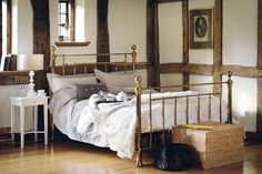 A bold, and opulent bedstead with traditional castings. Available in shiny nickel or antique brass, this classic piece features a birch sprung slatted base. Bedroom With Ensuite, Small Room Bedroom, Home Bedroom, Bedroom Decor, Bedroom Ideas, Master Bedroom, Bedroom Inspo, Dream Bedroom, Bedroom Furniture