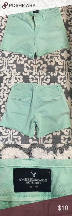✨American Eagle Midi Stretch shorts✨ Cute Mint Shirts in excellent condition. No stains or tears. Smoke free home American Eagle Outfitters Shorts