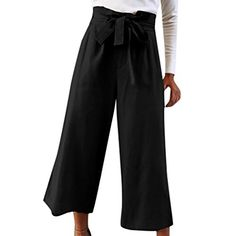 572c9aeed4435 Cebbay Cheap Womens Waist Tie Culottes Ladies Holiday Loose fit Wide Leg  Ninth Pants Trouser with