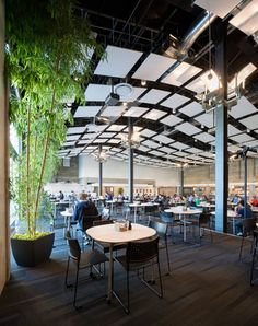 Twitter's headquarters in a 1937 San Francisco building features brightly coloured furniture, padded booths, games rooms and an enormous roof terrace