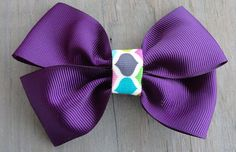 Purple with mulit colored Center Baby Toddler by HairPlayBowtique