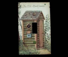Outhouse Light Switch Plate Cover with Country Shack / Bathroom Theme Switch Plate Covers, Light Switch Plates, Light Switch Covers, Outhouse Bathroom, Outhouse Decor, Master Bath, Old Things, Hand Painted, Outdoor Decor