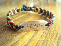 Rasta Jewelry Peace Hemp Bracelet Peace Jewelry by JackZenHemp, $12.00 #etsy #reggae #rasta