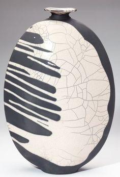 Joe Winter Raku Pottery Flounder Vaselarge black and white raku pottery bottle vase, signed on base.