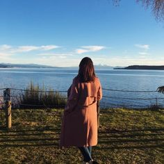 Gorgeous image of @_museboutique in Theory's Oaklane DF double-face wool-cashmere trench coat while exploring New Zealand!