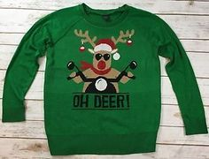 LOL Vintage Green Oh Deer Reindeer Motorcycle Christmas Sweater Womens Large | eBay