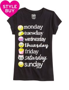Shop Emoji Weekday Graphic Tee and other trendy girls graphic tees tops at Justice. Find the cutest girls tops to make a statement today.