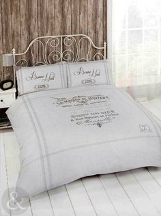 Just Contempo - Set copripiumino in stile shabby chic francese colore beige / grigio Cotone Paris - panna (beige marrone) copripiumino matrimoniale: Amazon.it: Casa e cucina