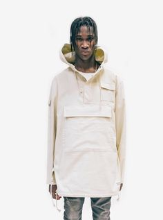 """Profound Aesthetic Open Fit Large Pocket Parka in Cream """"On the Streets I Ran"""" FW15 Collection http://profoundco.com"""