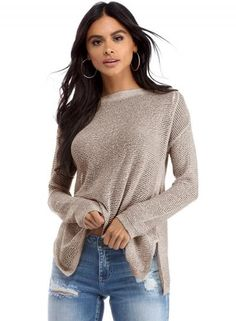 #BFCM #CyberMonday #Oasap - #oasap Casual Solid High Low Knit Sweater - AdoreWe.com