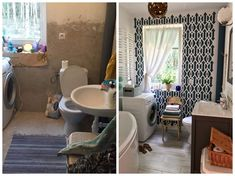Amazing bathroom makeover. Patterns on the wall and beautiful furniture. Check out for more pictures our site www.majsterki.pl