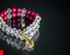 Pulseira Jade rubi e cristais Folheada