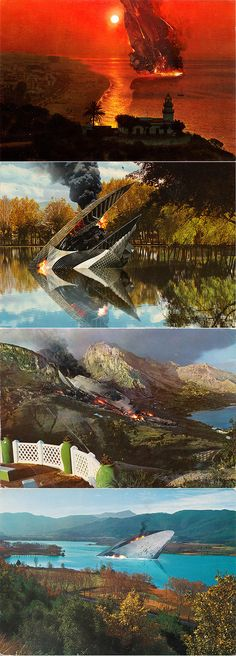 """Andy Potts:  """"I've been working on a personal project recently involving a bit of sci-fi fun with some old postcards I picked up in Barcelona. The series is called Post-Invasion Cards and is made up of four lurid landscapes 're-imagined' as giant crash-sites for interstellar crafts after an unspecified planetary assault. They are called (from top to bottom) Callela Hulk, The Wreck Of Puigcerda, The Dead Woman's Ruin and Banyoles Behemoth."""""""