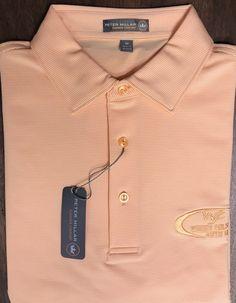 Peter Millar Summer Comfort Orange White Stripe Logo Golf Club Polo Shirt Size M  | eBay