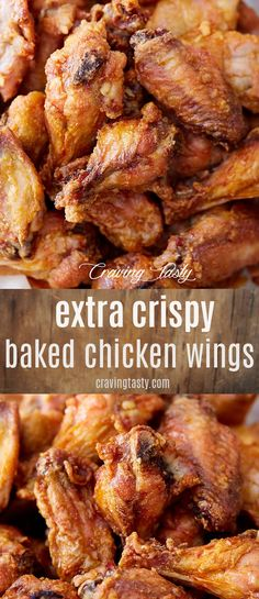 These Are The Crispiest Baked Chicken Wings You Can Make. These Oven-Baked Wings Make The Best Buffalo Wings. It Only Takes About 30 Minutes To Bake Them. Extraordinary For Parties, Game Days And Just To Satisfy Cravings For Chicken Wings. Crispy Baked Chicken Wings, Oven Baked Wings, Oven Wings Crispy, Chicken Wings On Grill, Bbq Chicken Tenders Baked, Recipes For Chicken Wings, Chicken Wing Recipes Healthy, Bake Chicken In Oven, Chicken Drummettes Recipes