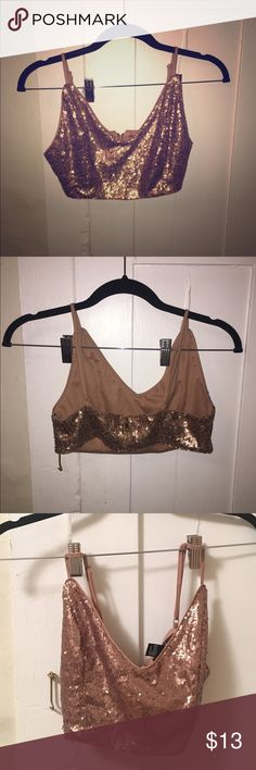 •F21• Sequin Bralette Copper gold tone Bralette or super crop top? Straps are adjustable, size small.. Never worn! Forever 21 Tops Crop Tops