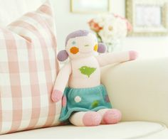 This darling 100% knit doll is perfect for playing and cuddling, but cute enough to display on a shelf as decor in the nursery or kids room! #PNshop