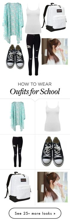 """School day"" by rejectpeguin on Polyvore featuring M&Co, Miss Selfridge, Converse, JanSport and Pin Show"