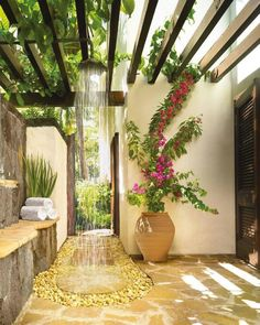 I'd love an outdoor shower... #homedesign #lifestyle #style #designporn #interiors #decorating #interiordesign #interiordecor #architecture #landscapedesign