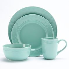 Food Network Fontina Aqua Place Setting From Kohls Thomson Pottery, Stoneware Dinnerware Sets, Green Plates, Kitchenware, Tableware, Kitchen Dishes, Florida Home, Place Settings, Kitchen Accessories
