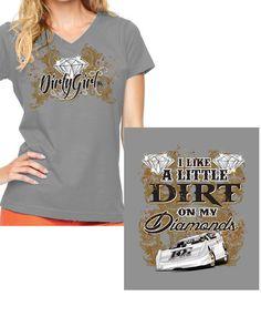 Dirt on My Diamonds Dirt Late Model Racing V-Neck T-Shirt