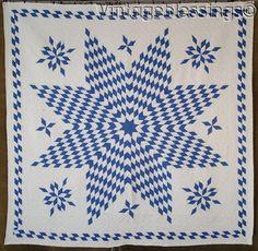 "www.Vintageblessings.com Incredible! Antique c1920s Blue & White Stars QUILT 71"" x 70"""