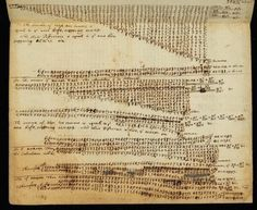 Beautiful chaos, and a lot of numbers: page from notebook of Sir Isaac Newton (Cambridge University Library).