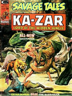 Savage Tales 6 cover by Neal Adams, 1947, featuring the new lead, Ka-Zar