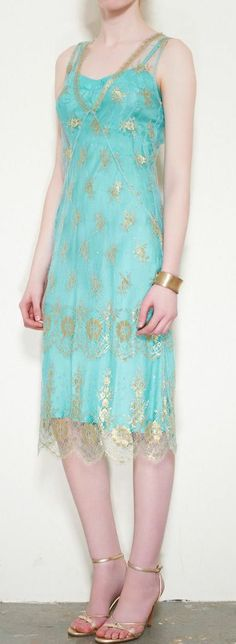 Erica Tanov Blue & Gold Dress- love this so much, maybe even more in a mauve or blush colour