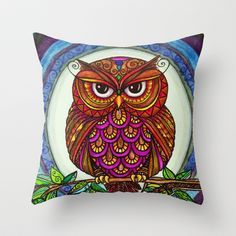 Wise Owl Stare Throw Pillow by Alohalani - $20.00