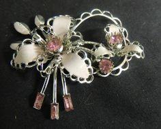 Vintage Designer Brooch Pin Rhinestone Pink Silver Lace Delicate Flower Wedding #Unbranded