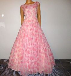 Parade of ROSES - Vintage 50's - Pedal Pink - ROSE - Full Circle - Chiffon - Maxi Gown - Prom - Dress with Sequin Accents 36' bust on Etsy, $189.00