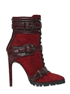 #EMILIO PUCCI 115MM SUEDE & OSTRICH ANKLE #BOOTIES