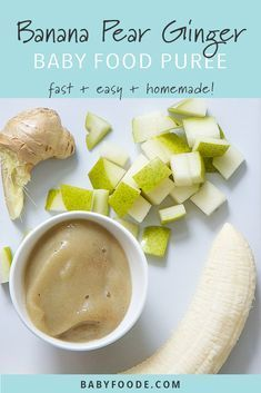This banana and pear baby food puree is an easy starter puree for baby! This homemade stage 1 puree is super easy to make, full of flavor, and an awesome freezer stash. Made with just four ingredients - banana, pear, ginger and formula or breast milk - th Baby Puree Recipes, Pureed Food Recipes, Baby Food Puree, Baby Food Recipes Stage 1, Pear Recipes Baby Food, Entrée Simple, Healthy Baby Food, Food Baby, Sweet Potato Baby Food
