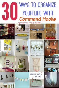 30 Wonderful Ways to Organize your Life with Command Hooks - Need an inexpensive, simple and effective way to declutter your home? The answer will almost always be command hooks! These little suckers can be stuck to practically any surface, and they have a multitude of uses throughout your entire home. Help your friends organize their homes too by sharing these tips. #diy #organizing #brilliant