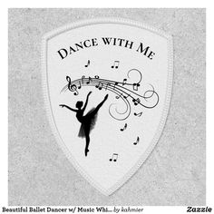 Beautiful Ballet Dancer w/ Music White Personal Patch