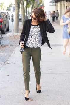 khaki pants dotted shirt and chic blazer create adore outfit for work