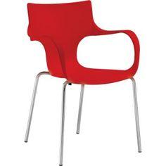 Cadeira Jim Vermelha Fixa com Base Cromada