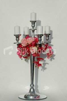 Large 78cm Candelabra Table Display w/ Pink Roses & Orchids