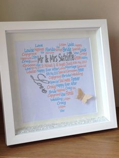 Wall art ~ Personalised shadow box frame wedding word art design ~ wedding gift ~ choose own words and colours ~ love hearts ~ butterfly by FunkyDesignsbyDi on Etsy Wedding Wording, Wedding Bride, Wedding Gifts, Word Art Design, Personalized Wall Art, Shadow Box Frames, Wedding Frames, Love Heart, Vows