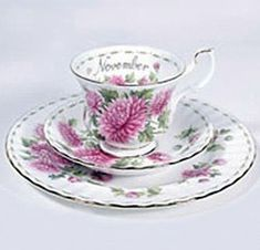 Chrysanthemum - November - Flower of the Month - Teacup, Saucer and Bread Plate - 1970s to Present