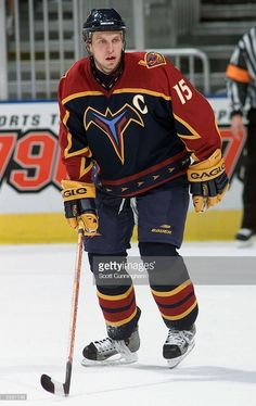 Right wing Dany Heatley of the Atlanta Thrashers skates against the  Carolina Hurricanes during the preseason NHL game on September 2003 at the  Philips Arena ... 623dae221