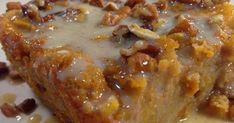 Ingredients: 4 cups slices) cubed white bread cup raisins 2 cups milk cup butter cup sugar 2 eggs, slightly beaten 1 tablespoon vanilla teaspoon ground nutmeg Sauce Ingredients: cup butter cup sugar cup firmly packed brown sugar cup heavy 13 Desserts, Delicious Desserts, Yummy Food, Tasty, Bread Pudding Vanilla Sauce, Sweet Potato Bread Pudding Recipe, Dessert Dishes, Dessert Recipes, Old Fashioned Bread Pudding