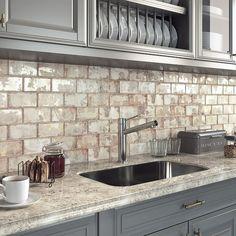 Kitchen Redo, Home Decor Kitchen, Rustic Kitchen, New Kitchen, Kitchen Remodel, Rustic Backsplash Kitchen, Wall Tiles For Kitchen, Brick Backsplash White Cabinets, Whitewash Brick Backsplash